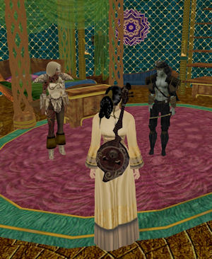 Jasmine and Julan hanging with my Akaviri bard inside Westly's Alakazar's Lamp. Don't judge me.