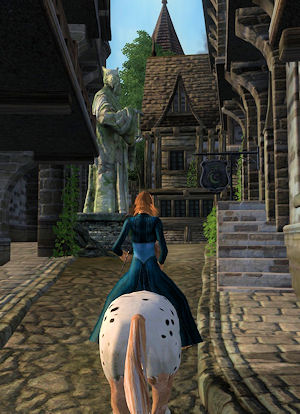 Riding through the streets of Skingrad in Oblivion.